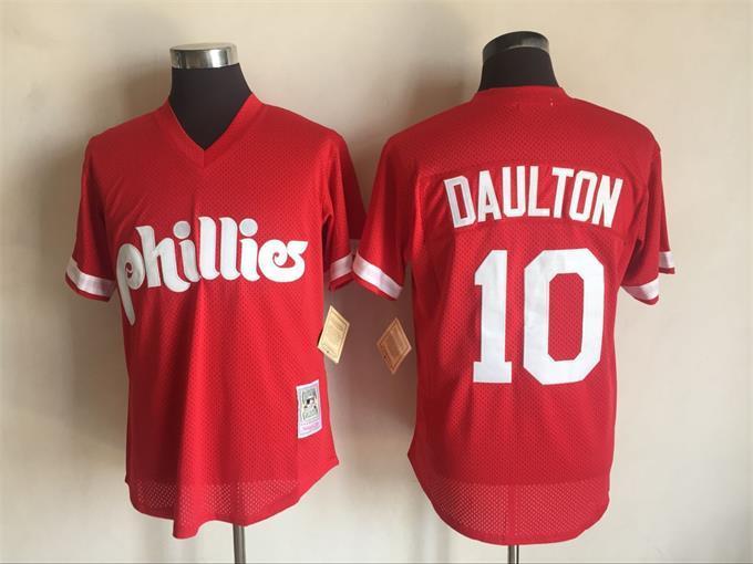 Phillies 10 Darren Daulton Red Cooperstown Collection Jersey