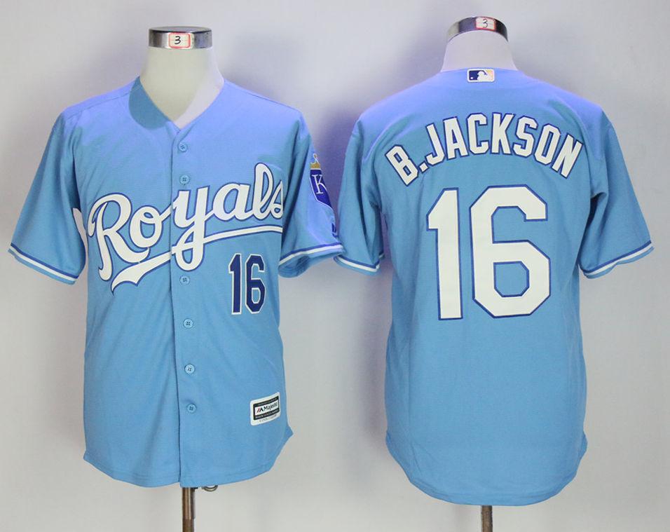 Royals 16 Bo Jackson Light Blue Cool Base Jersey