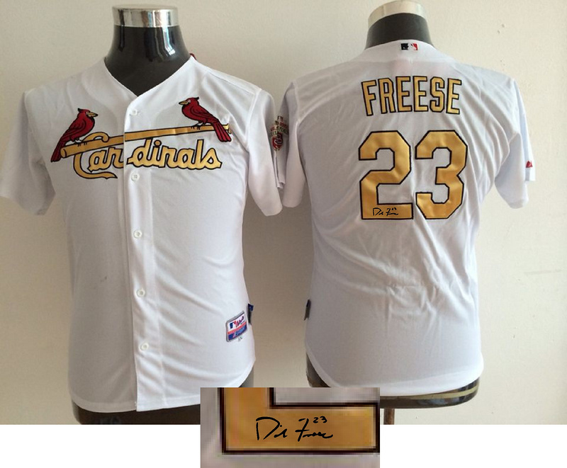 Cardinals 23 David Freese White With Gold Number Youth Signature Edition Cool Base Jersey