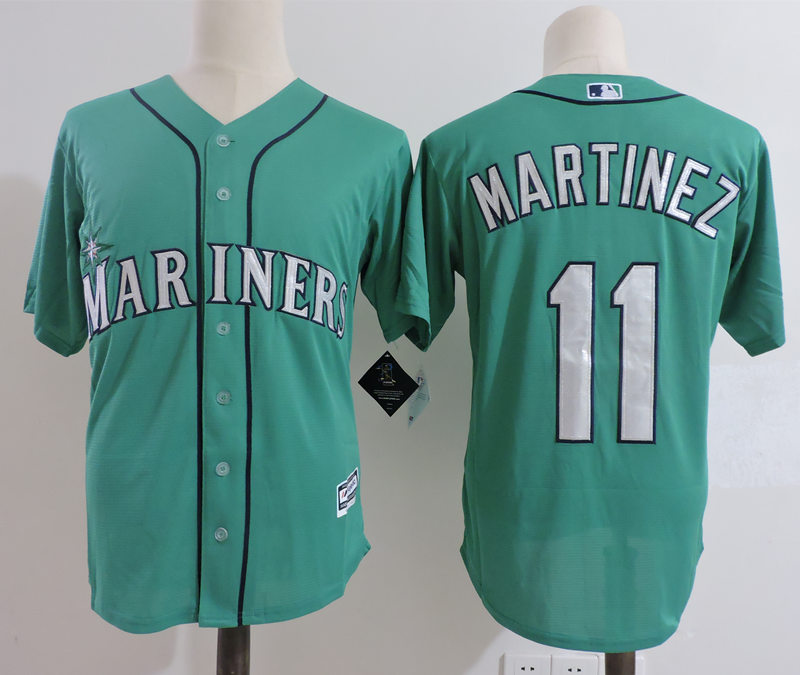 Mariners 11 Edgar Martinez Green Cool Base Jersey