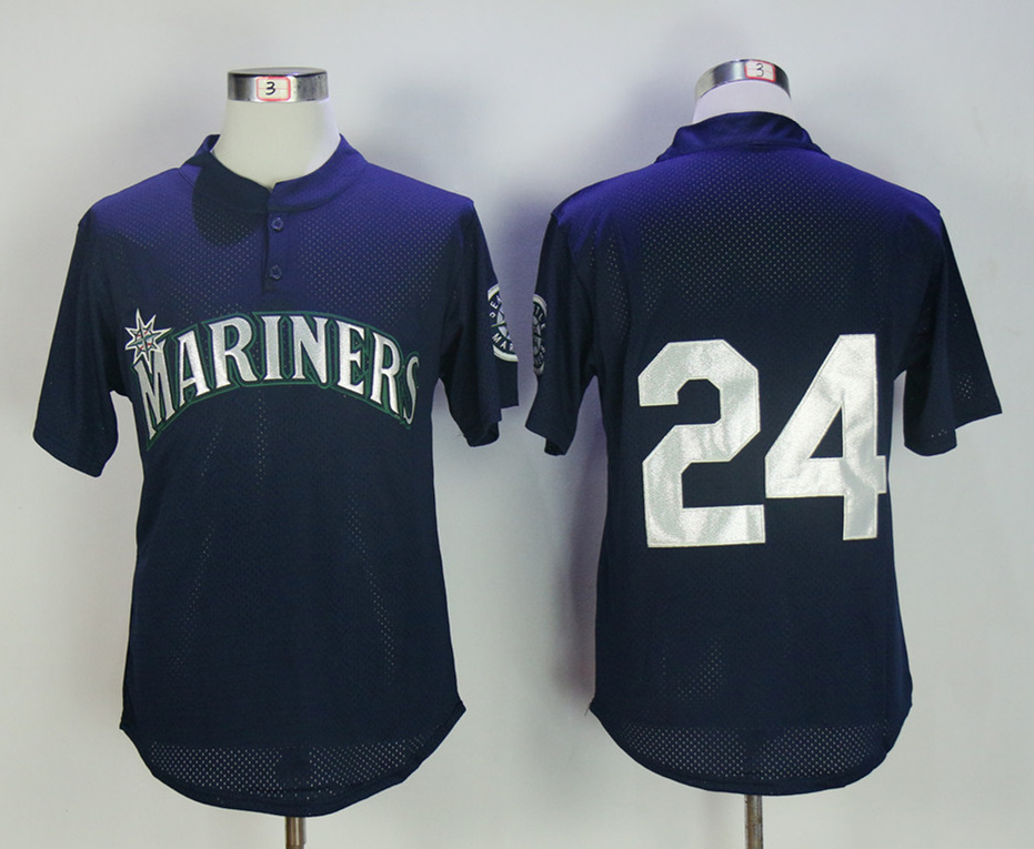 Mariners 24 Ken Griffey Jr. Navy BP Throwback Jersey