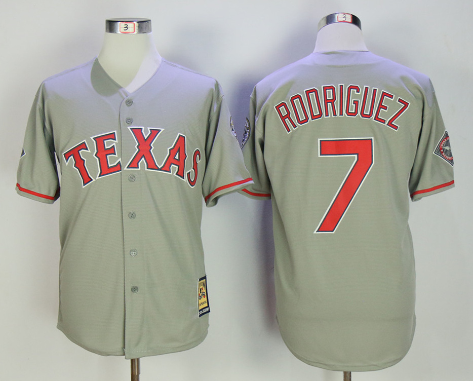 Rangers 7 Ivan Rodriguez Gray Throwback Jersey