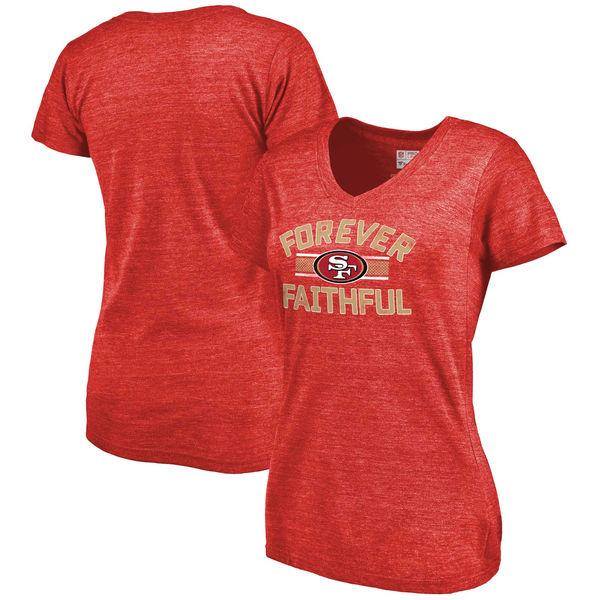 San Francisco 49ers NFL Pro Line Women's Hometown Collection Tri Blend V Neck T-Shirt Heathered Scarlet