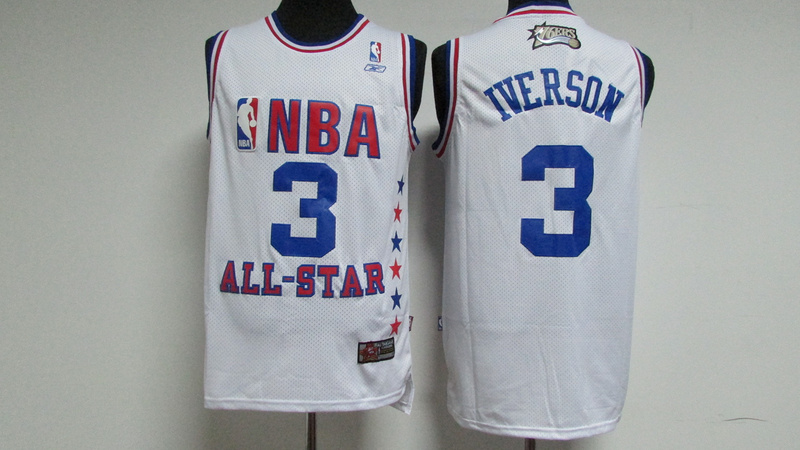 76ers 3 Allen Iverson White 2003 All Star Stitched NBA Jersey