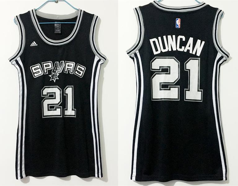 Spurs 21 Tim Duncan Black Women Swingman Jersey