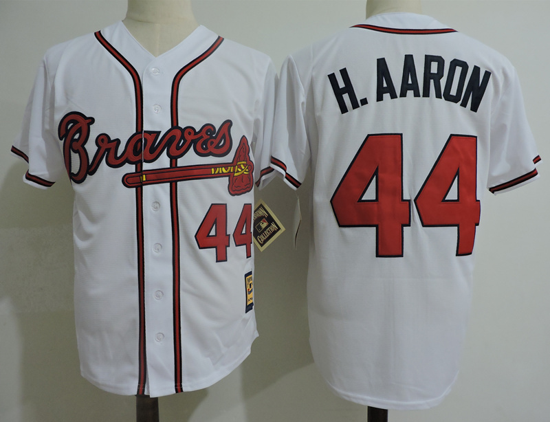 Braves 44 Hank Aaron White Cooperstown Collection Jersey