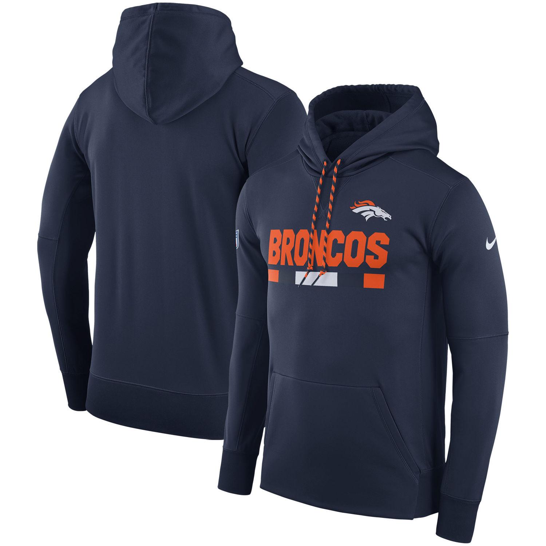 Men's Denver Broncos Nike Navy Sideline Team Name Performance Pullover Hoodie