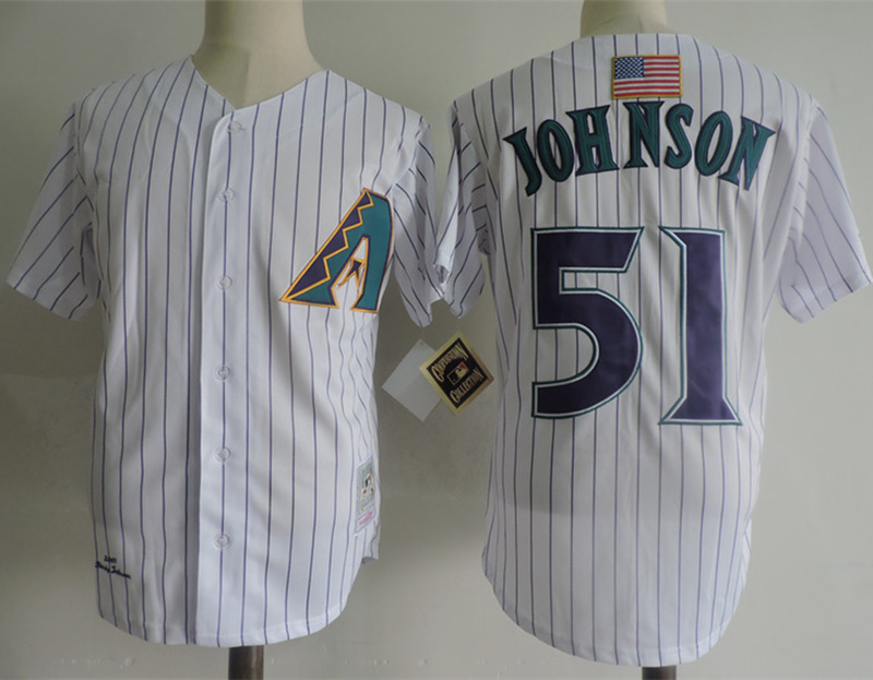 Diamondbacks 51 Randy Johnson White Mitchell & Ness Jersey