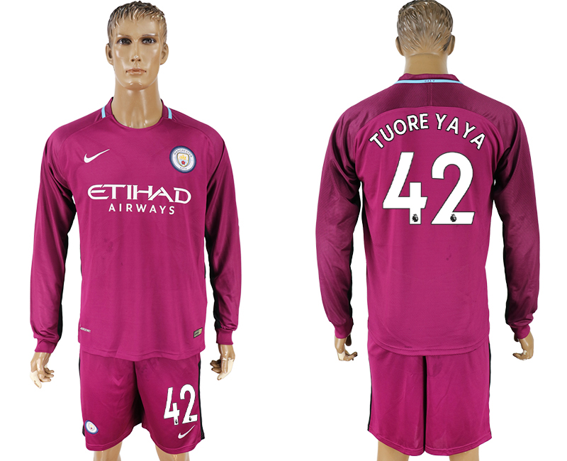 2017-18 Manchester City 42 TOURE YAYA Away Long Sleeve Soccer Jersey