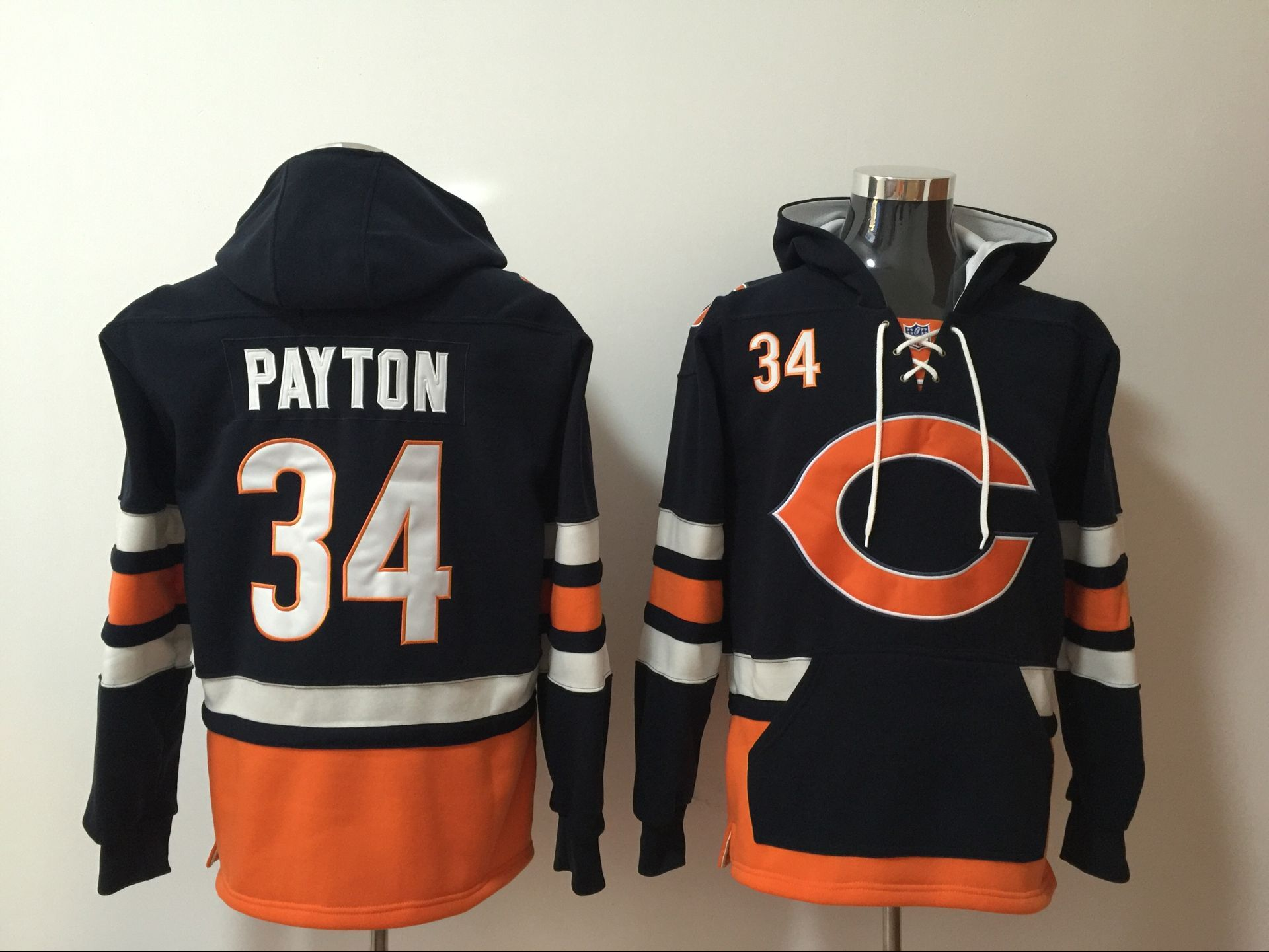 Chicago Bear 34 Walter Payton Navy All Stitched Hooded Sweatshirt
