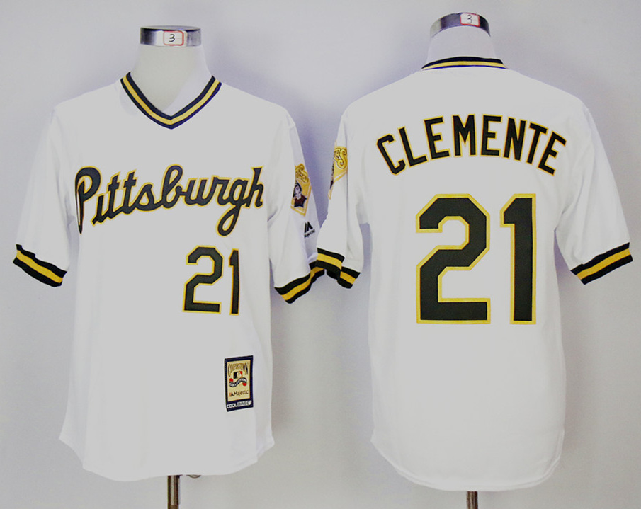 Pirates 21 Roberto Clemente White Cooperstown Collection Jersey