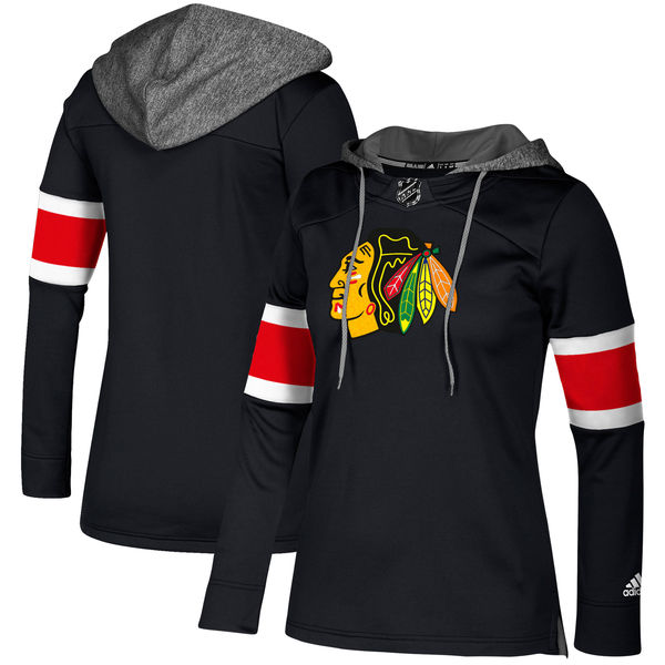 Blackhawks Black Women's Customized All Stitched Hooded Sweatshirt