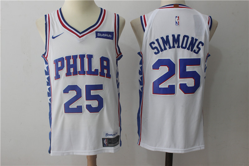 76ers 25 Ben Simmons White Nike Authentic Jersey