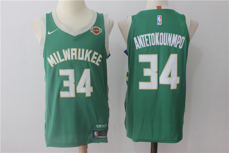 Bucks 34 Giannis Antetokounmpo Green Nike Authentic Jersey