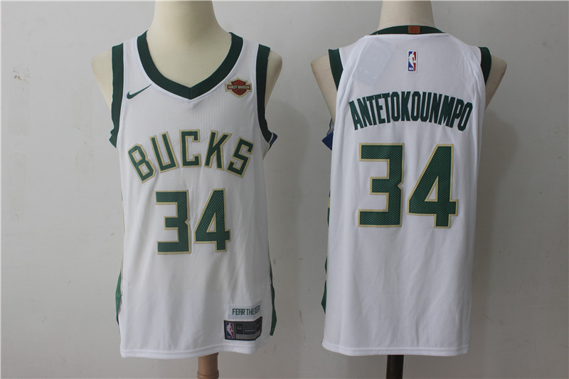 Bucks 34 Giannis Antetokounmpo White Nike Authentic Jersey