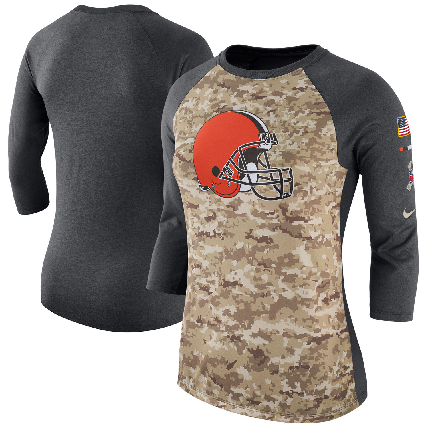 Women's Cleveland Browns Nike Camo Charcoal Salute to Service Legend Three-Quarter Raglan Sleeve T Shirt