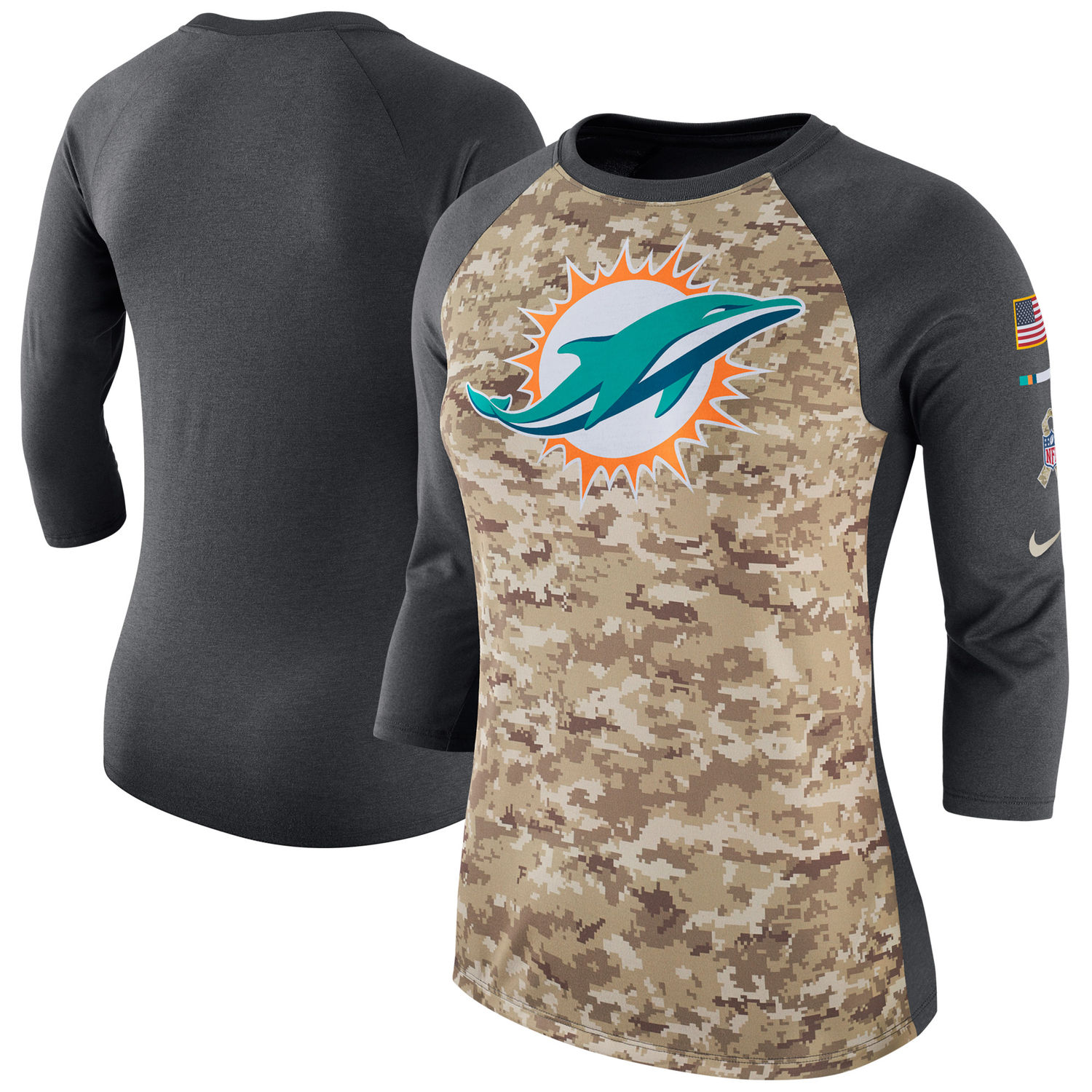 Women's Miami Dolphins Nike Camo Charcoal Salute to Service Legend Three-Quarter Raglan Sleeve T Shirt