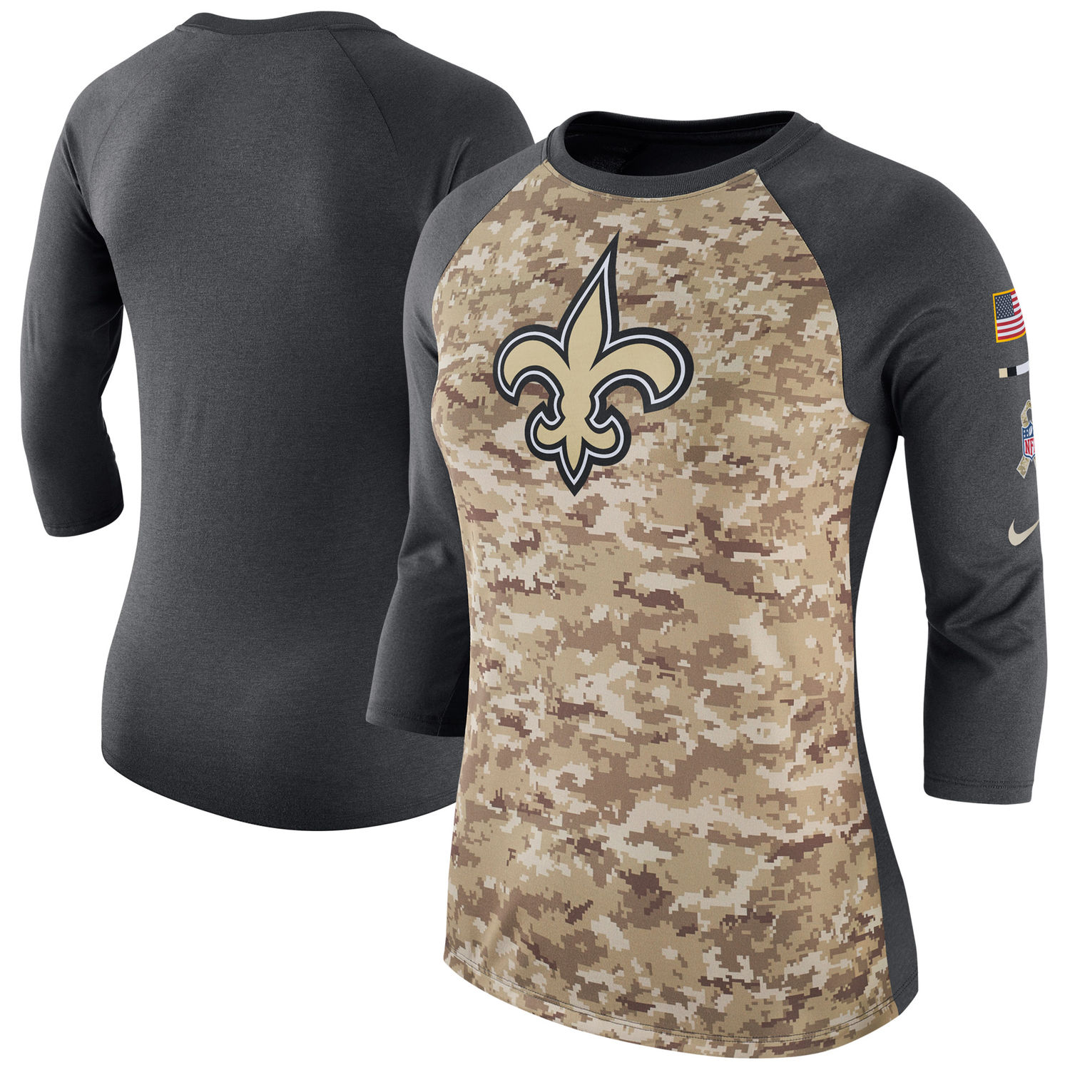 Women's New Orleans Saints Nike Camo Charcoal Salute to Service Legend Three-Quarter Raglan Sleeve T Shirt
