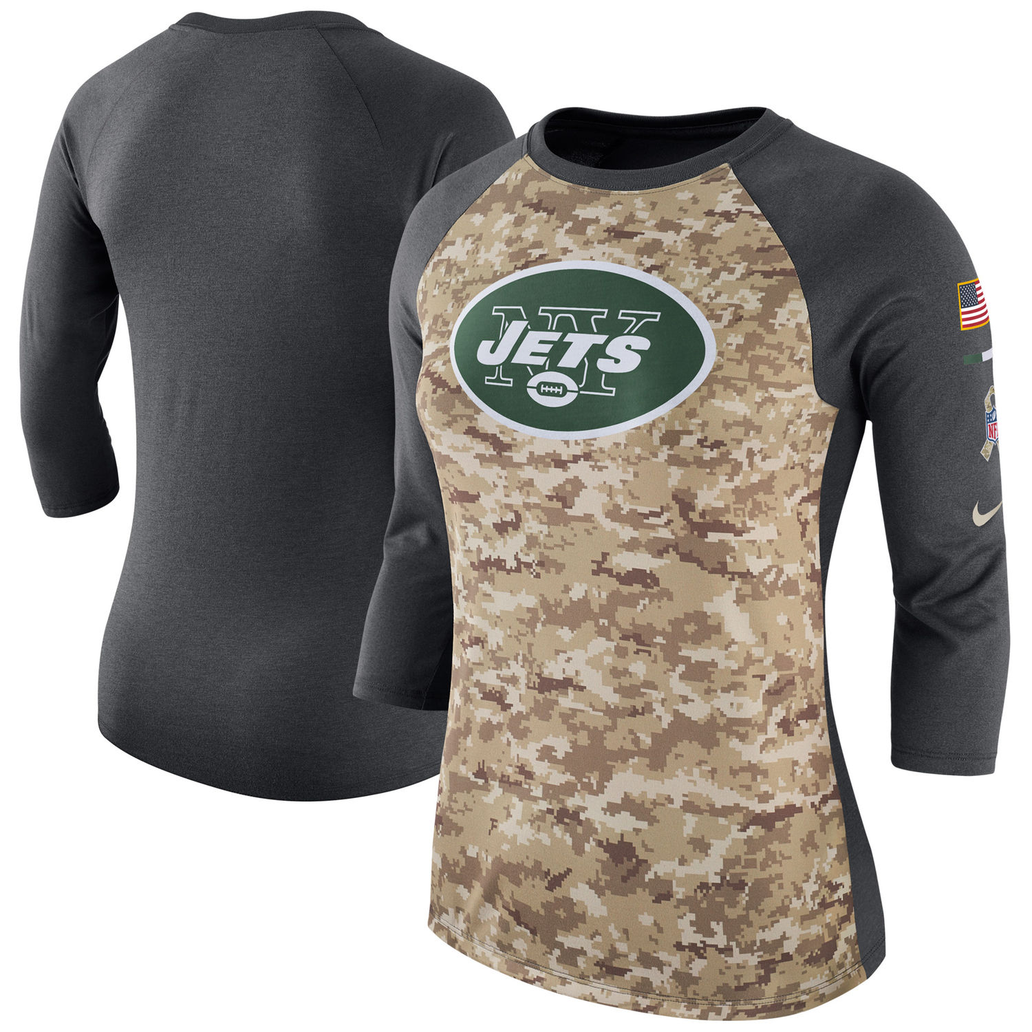 Women's New York Jets Nike Camo Charcoal Salute to Service Legend Three-Quarter Raglan Sleeve T Shirt