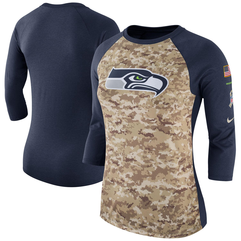 Women's Seattle Seahawks Nike Camo Navy Salute to Service Legend Three-Quarter Raglan Sleeve T Shirt