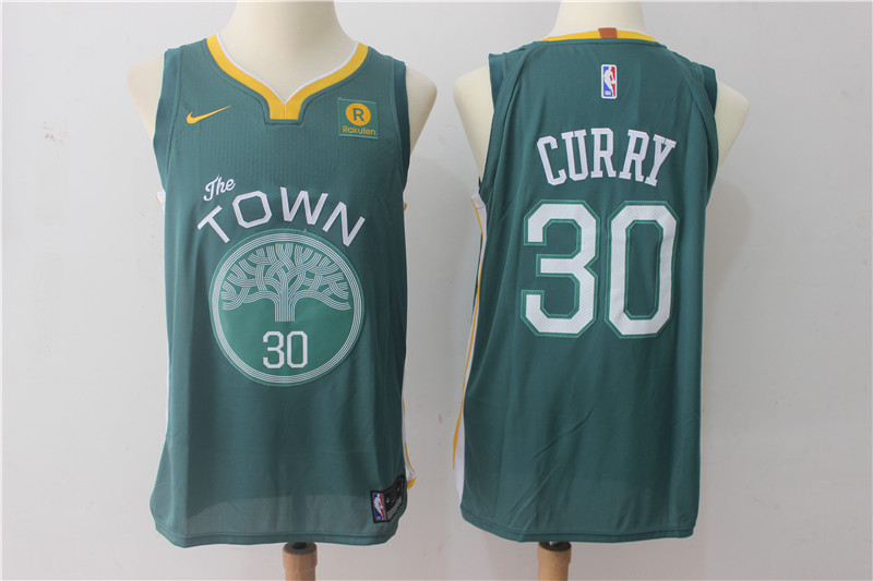 Warriors 30 Stephen Curry Green The Town Nike Authentic Jersey