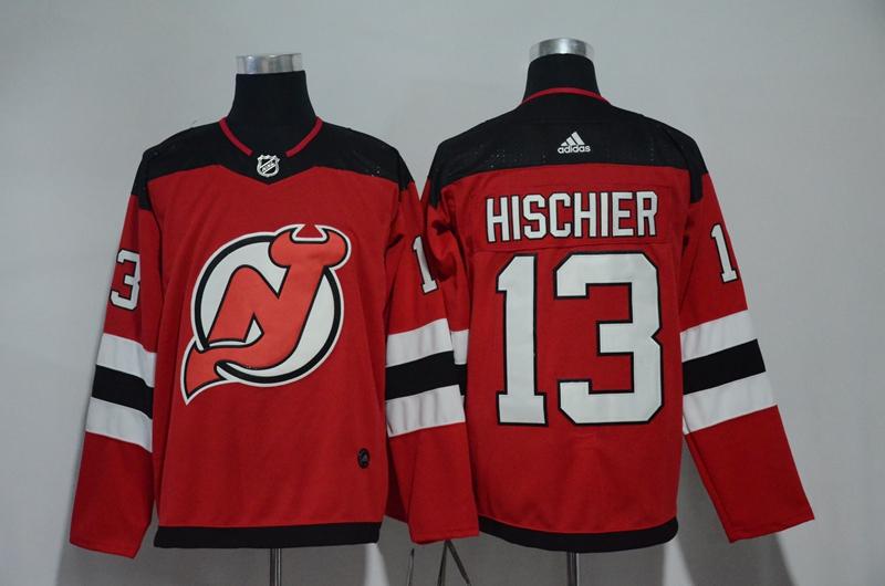 Devils 13 Nico Hischier Red Adidas Jersey