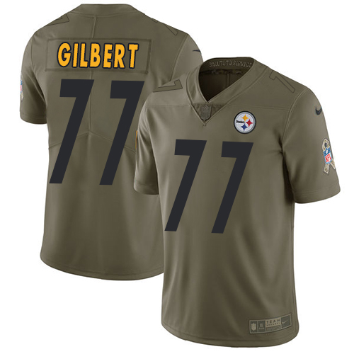 Nike Steelers 77 Marcus Gilberti Olive Salute To Service Limited Jersey