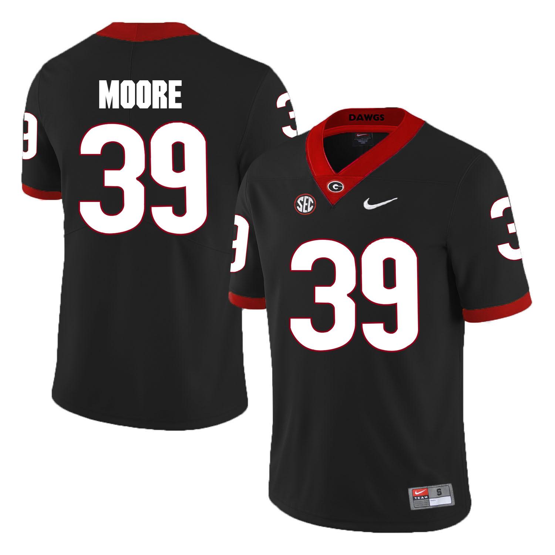 Georgia Bulldogs 39 Corey Moore Black College Football Jersey