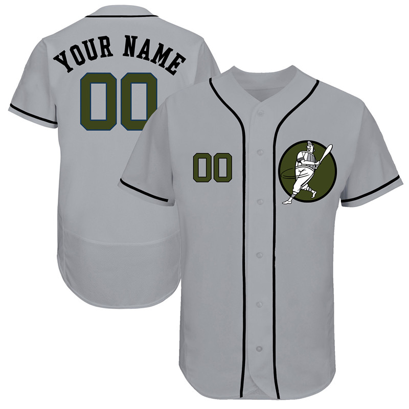 Astros Gray Men's Customized Green Logo Flexbase New Design Jersey
