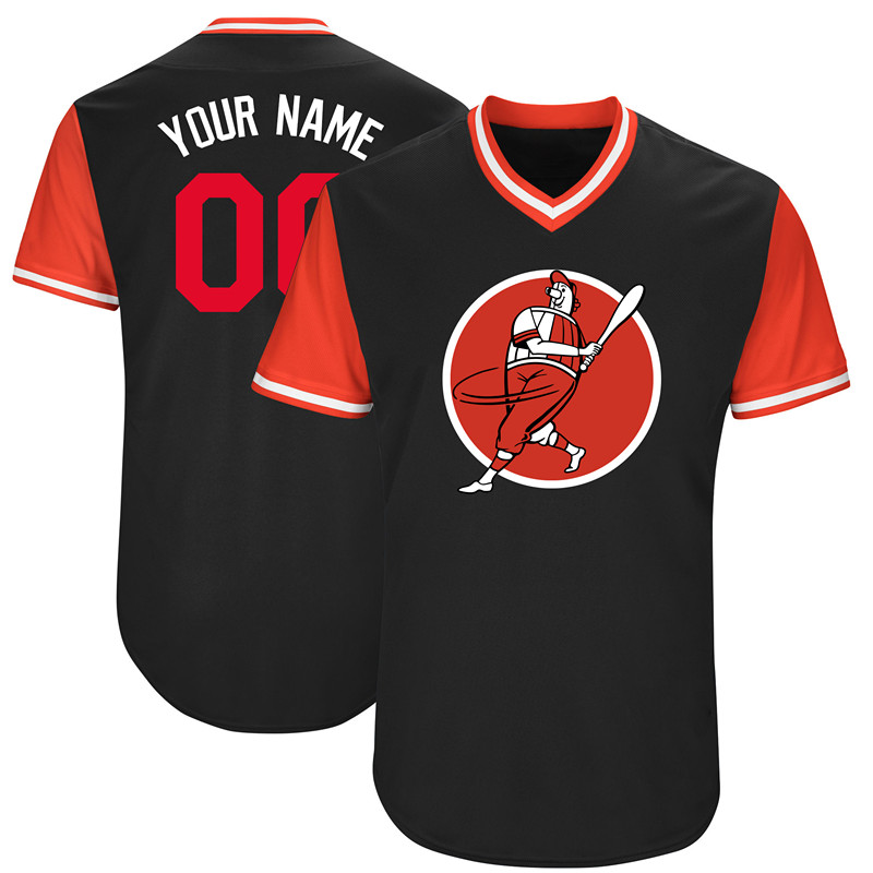 Nationals Black Men's Customized Throwback New Design Jersey