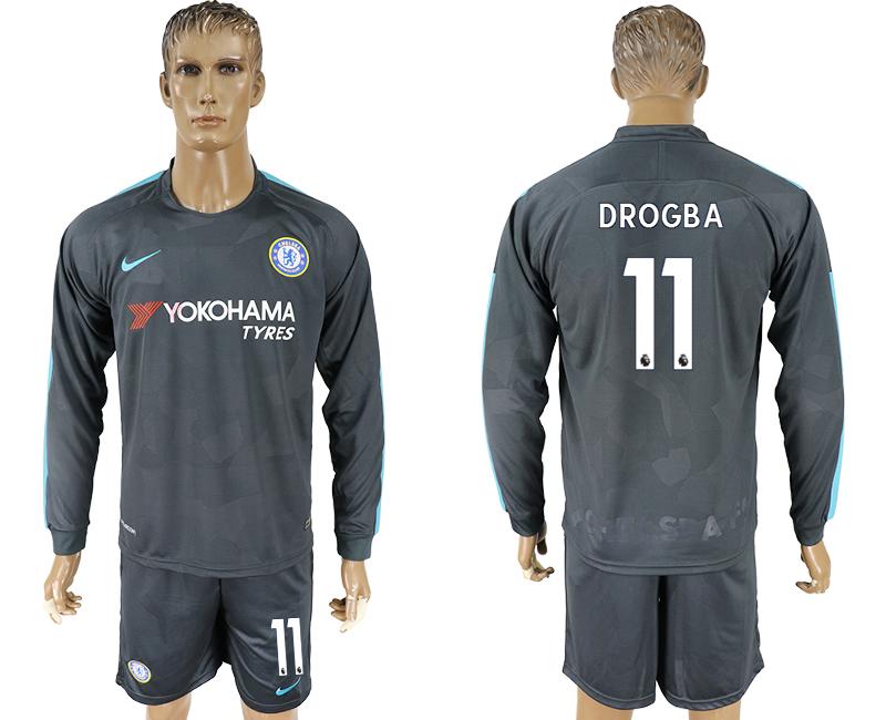 2017-18 Chelsea 11 DROGBA Third Away Long Sleeve Soccer Jersey