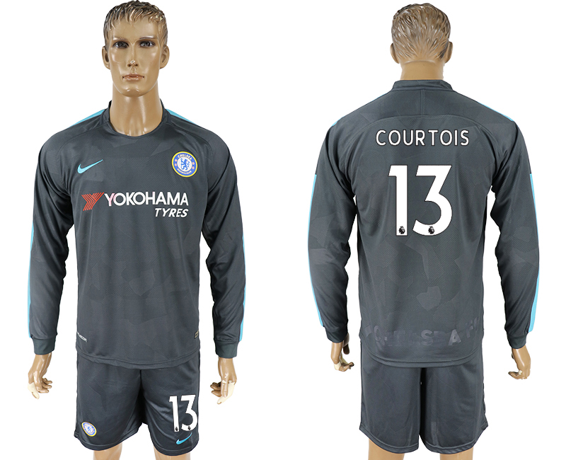 2017-18 Chelsea 13 COURTOIS Third Away Long Sleeve Soccer Jersey