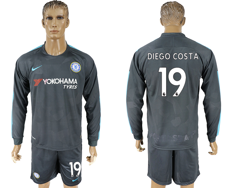 2017-18 Chelsea 19 DIEGO COSTA Third Away Long Sleeve Soccer Jersey