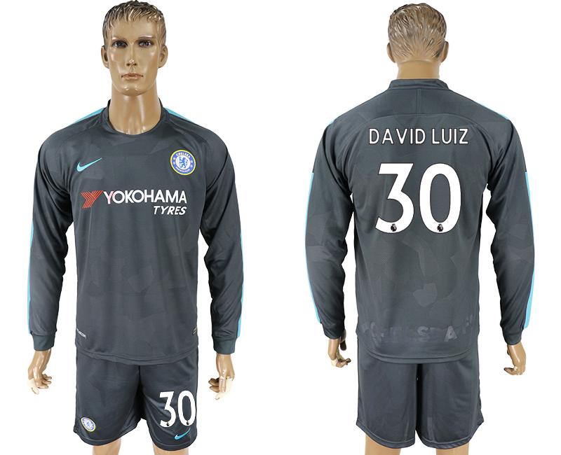 2017-18 Chelsea 30 DAVID LUIZ Third Away Long Sleeve Soccer Jersey