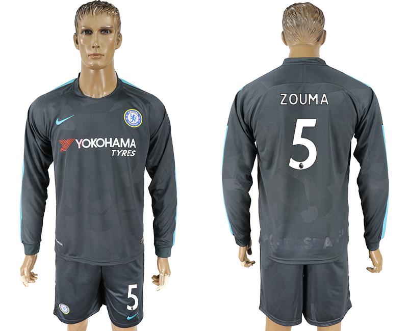 2017-18 Chelsea 5 ZOUMA Third Away Long Sleeve Soccer Jersey