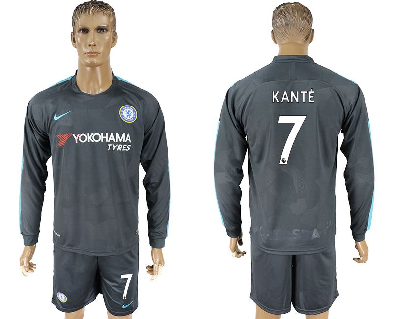 2017-18 Chelsea 7 KANTE Third Away Long Sleeve Soccer Jersey