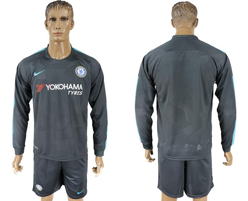 2017-18 Chelsea Third Away Long Sleeve Soccer Jersey