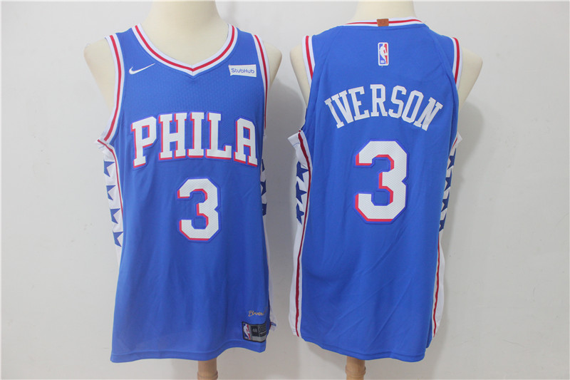 76ers 3 Allen Iverson Blue Nike Authentic Jersey