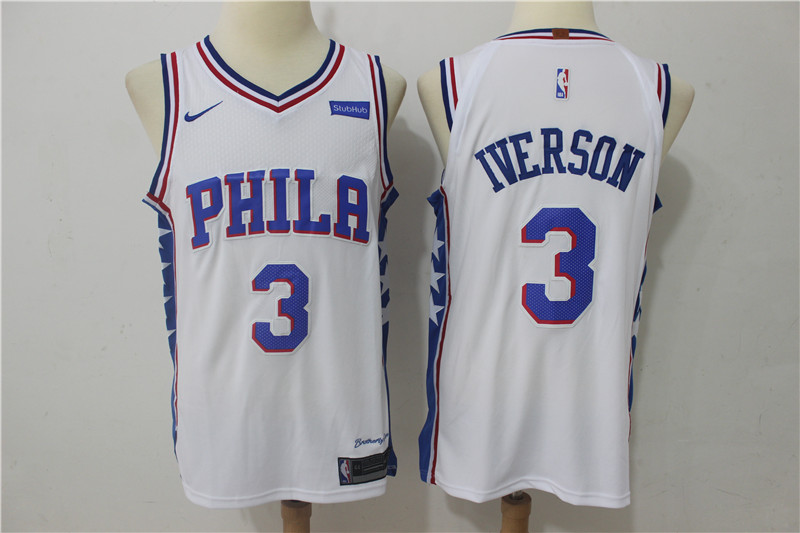 76ers 3 Allen Iverson White Nike Authentic Jersey