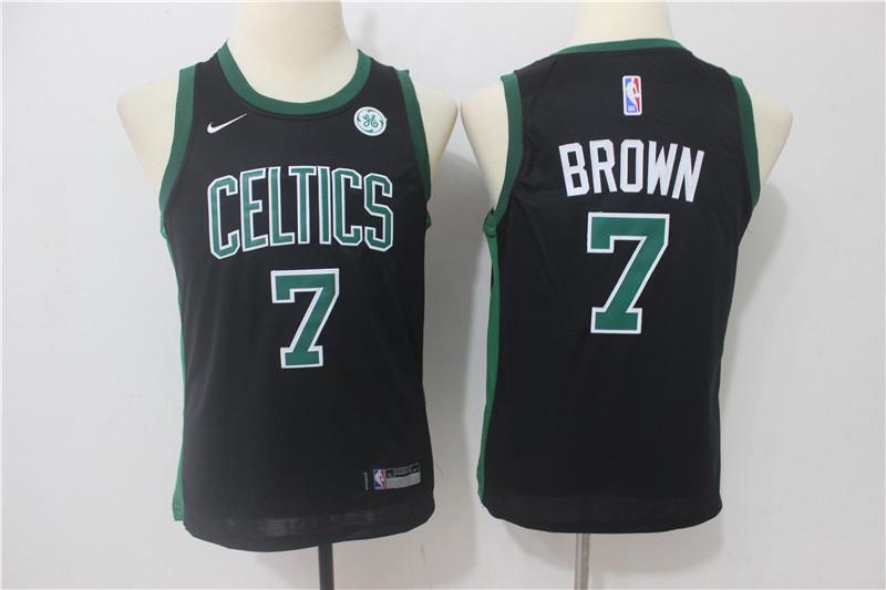 Celtics 7 Jaylen Brown Black Youth Nike Swingman Jersey