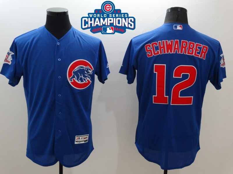 Cubs 12 Kyle Schwarber Royal 2016 World Series Champions Flexbase Jersey