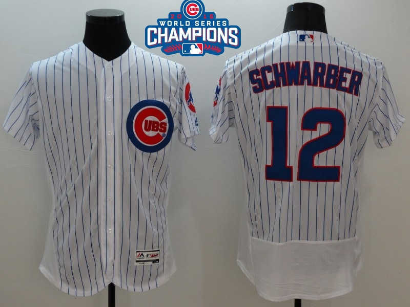 Cubs 12 Kyle Schwarber White 2016 World Series Champions Flexbase Jersey