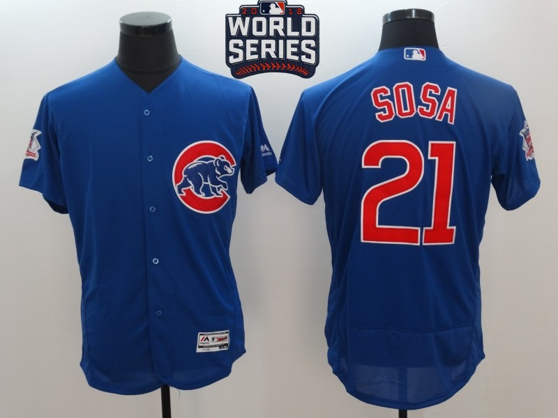 Cubs 21 Sammy Sosa Royal 2016 World Series Flexbase Jersey