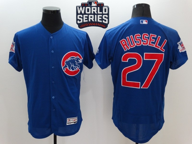 Cubs 27 Addison Russell Royal 2016 World Series Flexbase Jersey