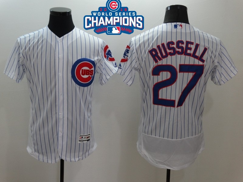 Cubs 27 Addison Russell White 2016 World Series Champions Flexbase Jersey