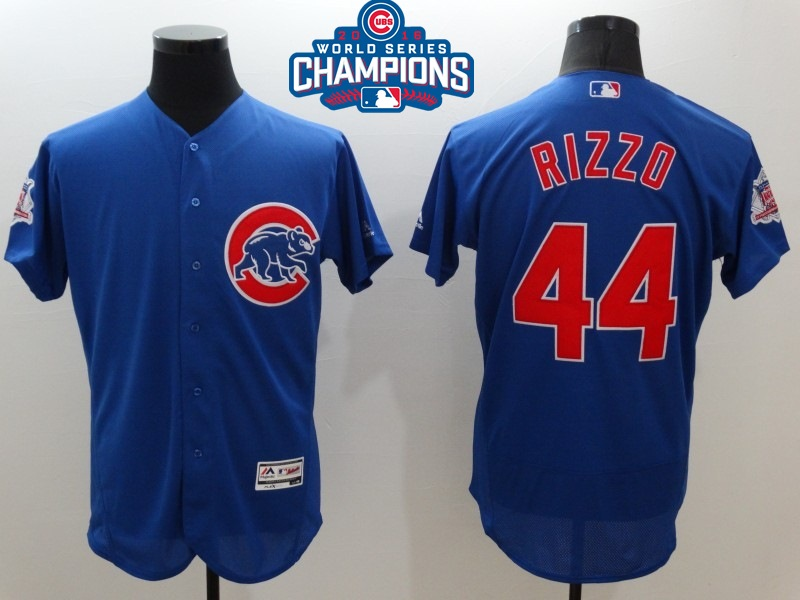 Cubs 44 Anthony Rizzo Royal 2016 World Series Champions Flexbase Jersey