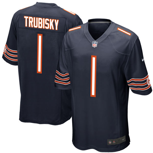 Nike Chicago Bears Mitchell Trubisky Navy 2017 Draft Pick Elite Jersey
