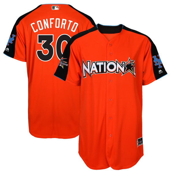 National League 30 Michael Conforto Orange 2017 MLB All-Star Game Home Run Derby Player Jersey