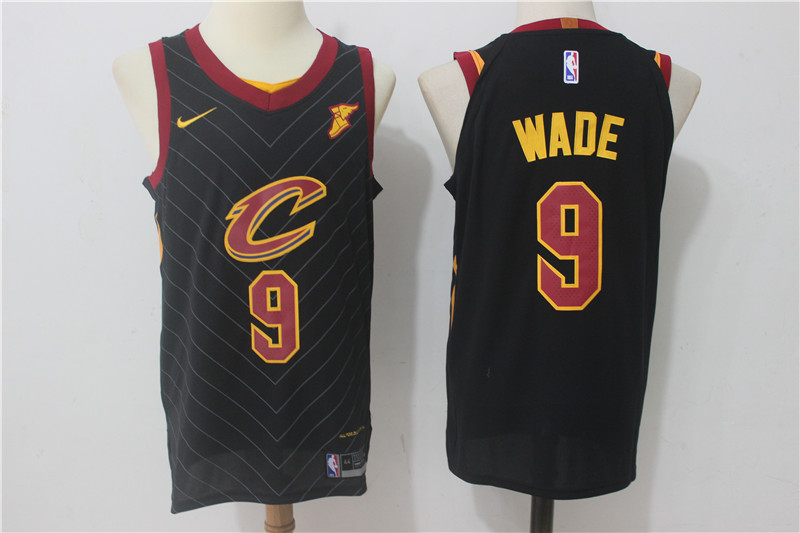 Cavaliers 9 Dwyane Wade Black Nike Authentic Jersey