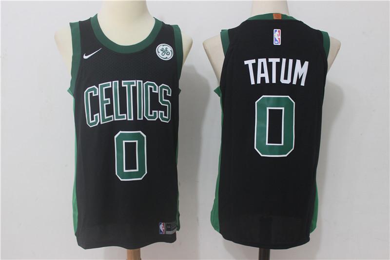Celtics 0 Jayson Tatum Black Nike Authentic Jersey